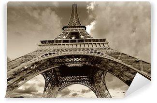 Papier Peint Vinyle Tour Eiffel en noir et blanc, Paris (France)