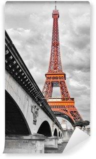 Papier Peint Vinyle Tour Eiffel noir et blanc et rouge