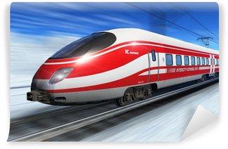 Papier Peint Vinyle Train à grande vitesse d'hiver de haut