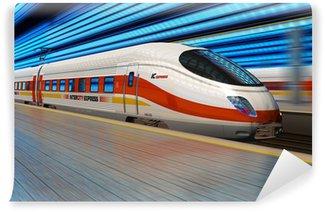 Papier Peint Vinyle Train à grande vitesse part de la gare de chemin de fer avec motion blur