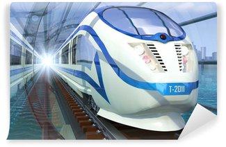 Papier Peint Vinyle Train dans un tunnel