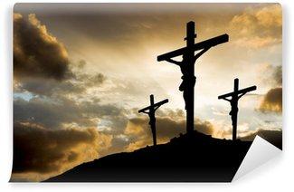 Papier Peint Vinyle Trois croix au coucher du soleil