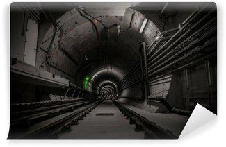 Papier Peint Vinyle Tunnel souterrain avec voie ferrée