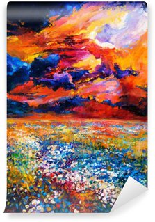 Papier Peint Vinyle Un champ de fleurs