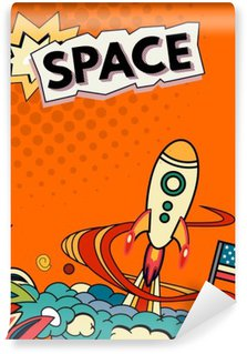Papier Peint Vinyle Vecteur Cartoon illustration de l'espace. Lune, planète, fusée, la terre, le cosmonaute, comète, univers Classification voie lactée main dessinée cosmos Comics
