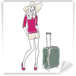 Papier Peint Vinyle Vecteur croquis femme de mode avec sac