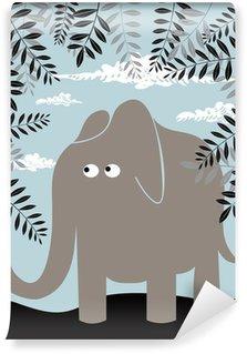 Papier Peint Vinyle Vecteur de fond avec l'éléphant et le feuillage