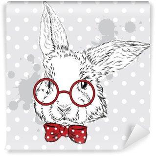 Papier Peint Vinyle Vecteur de lapin. Dessin à la main de l'animal. Impression . Branché. Lapin Aquarelle. Carte postale vintage.