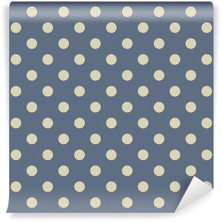 Papier Peint Vinyle Vecteur motif beige pois sur fond de bleu marine