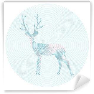 Papier Peint Vinyle Vector cerf aux cornes - illustration abstraite