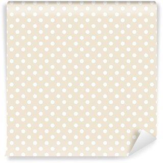 Papier Peint Vinyle Vector Seamless pois blancs sur fond beige