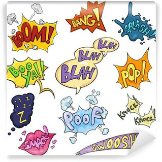 Papier Peint Vinyle Vector Set of Cartoon Comics Phrases et effets.