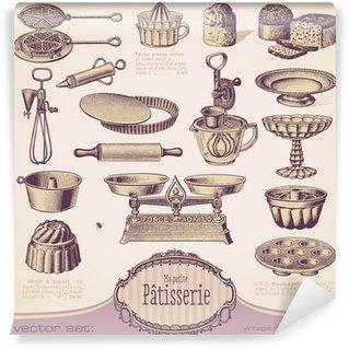 Papier Peint Vinyle Vector set: Patisserie - vintage éléments de conception de cuisson