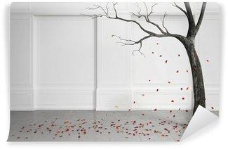 Papier Peint Vinyle Vieil arbre avec la chute des feuilles dans une salle blanche.