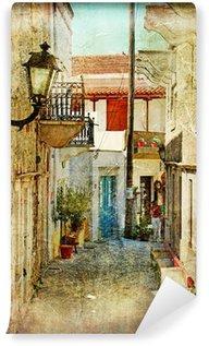 Papier Peint Vinyle Vieilles rues grecques et artistique image