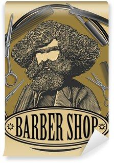 Papier Peint Vinyle Vintage barbier conseil d'administration signe avec l'homme barbu, ciseaux