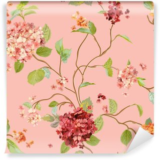 Papier Peint Vinyle Vintage Flowers - Floral Hortensia Background - Motif continu