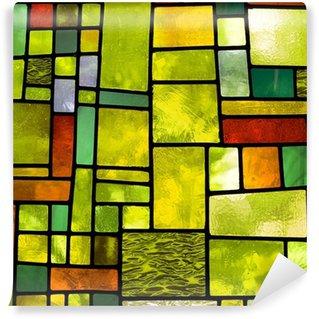 Papier Peint Vinyle Vitrail multicolore, format carré