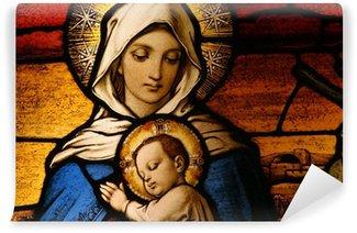 Papier Peint Vinyle Vitrail représentant la Vierge Marie tenant le bébé Jésus