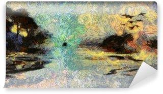 Papier Peint Vinyle Vivid Swirling Peinture des îles Coucher de soleil ou Sunrise