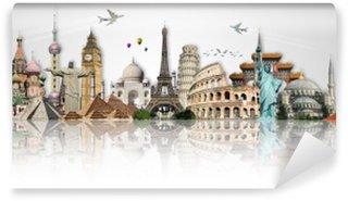 Papier Peint Vinyle Voyage dans le concept de monde monuments