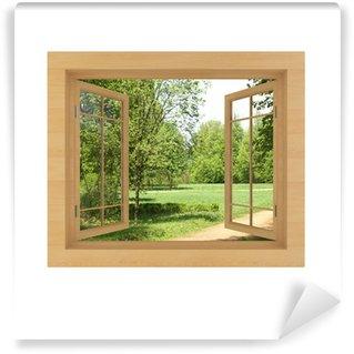 Papier Peint Vinyle Vue de la fenêtre isolé sur un fond blanc