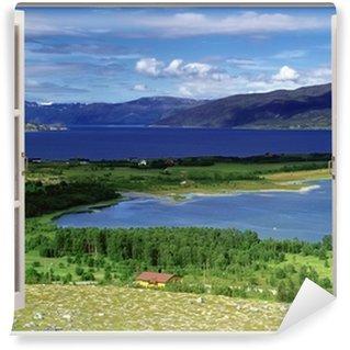 Papier Peint Vinyle Vue de la fenêtre ouverte au paysage avec la rivière, les collines et les champs