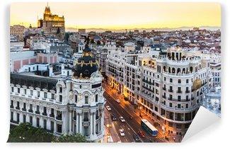 Papier Peint Vinyle Vue panoramique sur la Gran Via, Madrid, Espagne.