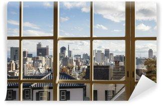 Papier Peint Vinyle Vue paysage urbain de la fenêtre