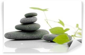 Papier Peint Vinyle Zen nuls - caillou sur un fond blanc avec les plantes vertes