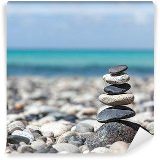 Papier Peint Vinyle Zen pierres pile équilibrée