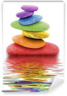 Papier Peint Vinyle Zen regenbogen kieselsteine im wasser