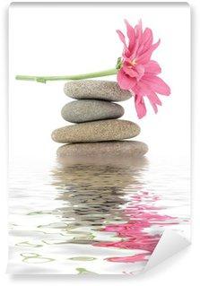 Papier Peint Vinyle Zen / spa pierres avec des fleurs
