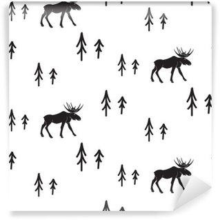 Pixerstick Duvar Resmi İskandinav basit tarzı siyah ve beyaz geyik sorunsuz desen. Geyikler ve çam siluet desen monokrom.