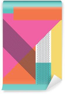 Pixerstick Fototapet Abstrakt retro 80 bakgrund med geometriska former och mönster. Materialdesign tapet.