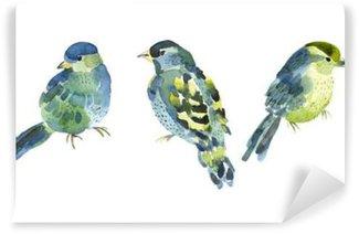 Pixerstick Fototapet Akvarell fågelsamling för din design.