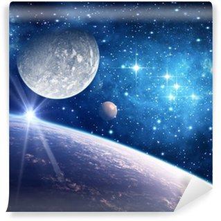 Pixerstick Fototapet Bakgrund med en planet, måne och stjärna
