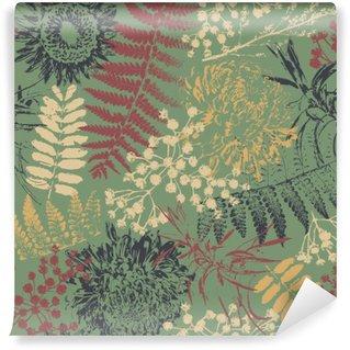 Pixerstick Fototapet Grunge blommor och blad