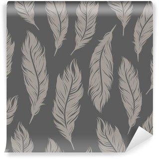 Pixerstick Fototapet Seamless mönster med grå fjäder symboler