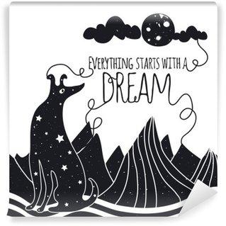 Pixerstick Fototapet Söt romantisk vektorillustration med hund tittar på månen. Allt börjar med en dröm. Stjärnor, berg och moln.