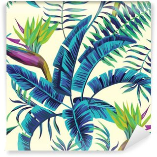 Pixerstick Fototapet Tropisk exotisk målning sömlös bakgrund