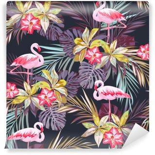 Pixerstick Fototapet Tropisk sommar seamless med flamingo fåglar och exotiska växter