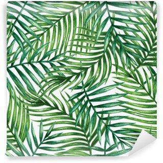 Pixerstick Fototapet Watercolor tropical palm leaves seamless pattern. Vector illustration.
