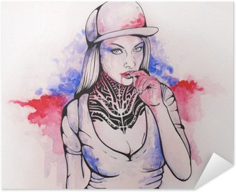 Pixerstick Poster Flicka i en mössa och tatueringar