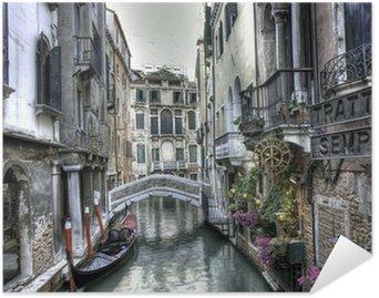 Pixerstick Poster Gondola, byggnader och bro, Venedig, Italien