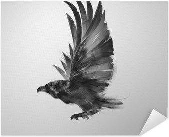 Pixerstick Poster Isolerade grafiskt flygande fågel svart kråka