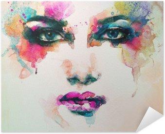 Pixerstick Poster Kvinna stående .abstract akvarell .fashion bakgrund