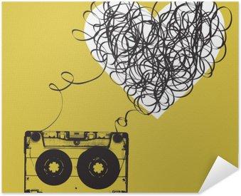 Pixerstick Poster Ljudkassetter med trassligt tejp. haert formad