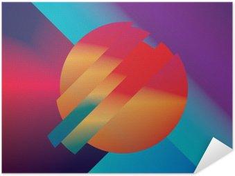 Pixerstick Poster Material design abstrakt vektor bakgrund med geometriska isometriska former. Livligt, ljust, glänsande färgrikt symbol för tapeter.