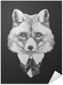 Portrait of Fox in suit. Hand drawn illustration.